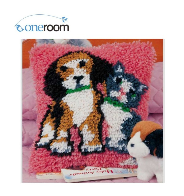 Bz409 Dog And Cat 5th Hook Rug Kit Pillow Diy Unfinished Crocheting Yarn Mat Latch