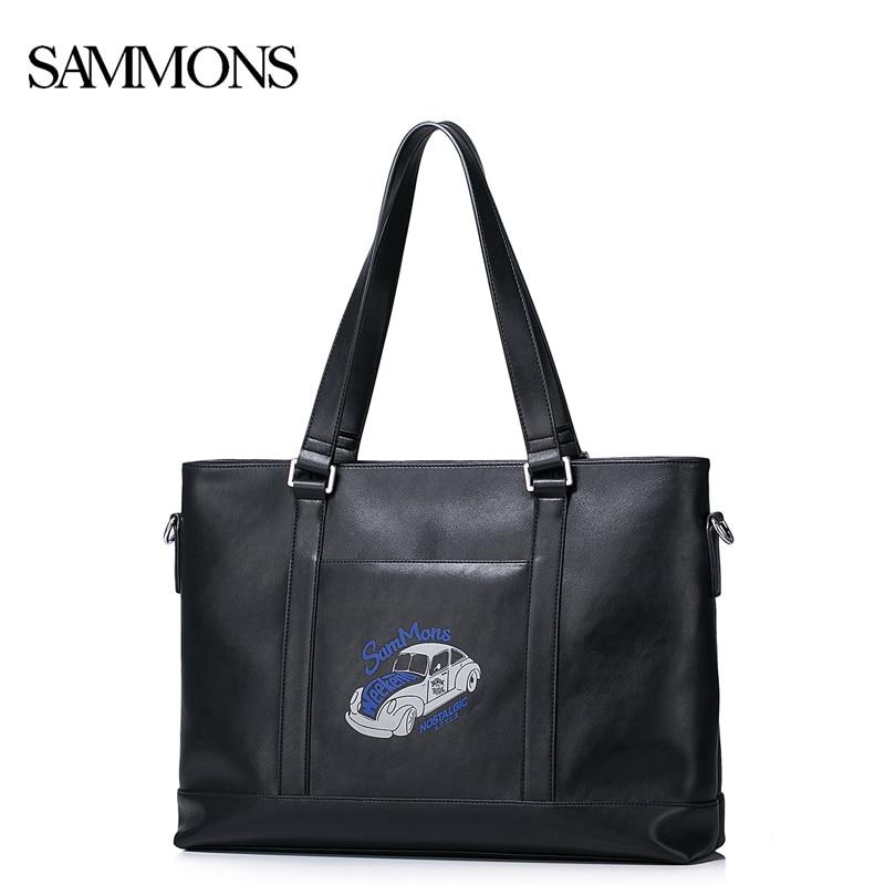 SAMMONS Men's PU Leather Handbag Male Leisure Large Capacity Shoulder Purse Man Travel Laptop Car Printed Tote Bags 190401