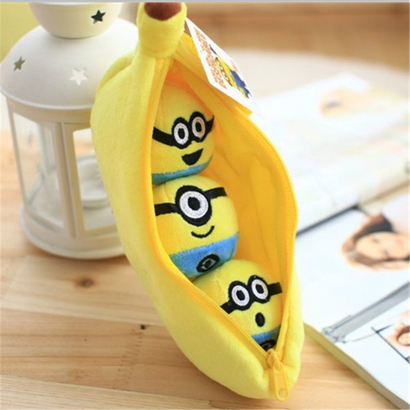 10cm/23CM Despicable Me <font><b>Minions</b></font> Plush Toys, <font><b>Banana</b></font>&Mini <font><b>Minion</b></font> Plush Models, Mini Peas Doll/ Anime Brinquedos, Toys For Children
