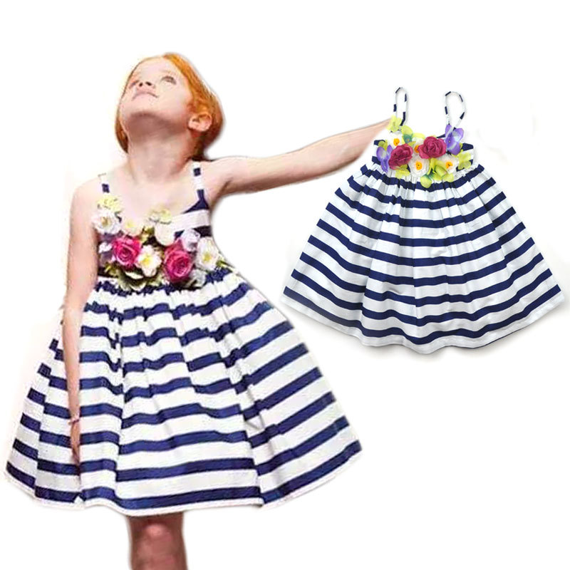 Summer Stripes Three-dimensional Flowers Teenage Girl Dress Beach Stripe Stereoscopic Flower Girls Princess Dresses 3-12T