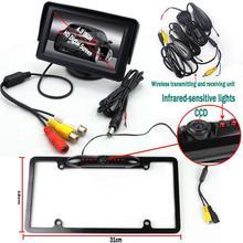 """Черный Номерные знаки для мотоциклов стайлинга автомобилей Беспроводной передатчик парковка Системы с CCD заднего вида Камера 4.3 """"Мониторы"""