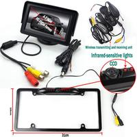 Black License Plate Car Styling Wireless Transmitter Parking System with CCD Rear View Camera 4.3'' Monitor