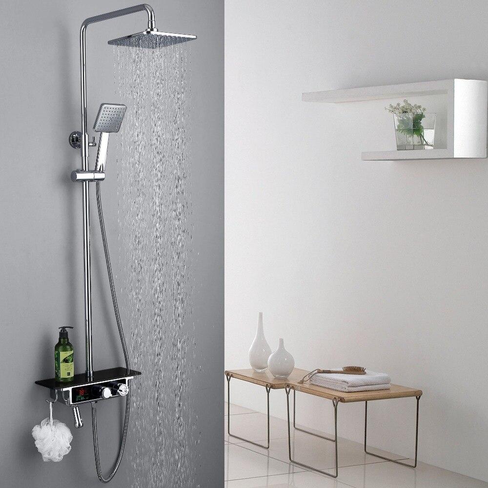 Robinet de douche thermostatique mural en laiton chromé de haute qualité avec affichage de la température et grande plaque