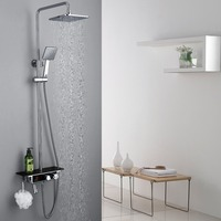 high quality brass chrome finished wall mounted thermostatic shower faucet set with temperature display and big plate