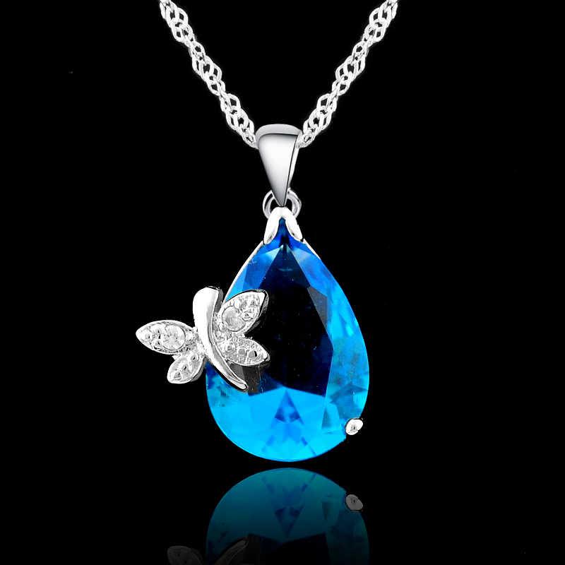 Elegante Hochzeit Schmuck-Sets Für Bräute 925 Sterling Silber Wasser Tropfen Kristall Anhänger Und Ohrring Set Für Frauen Bijoux