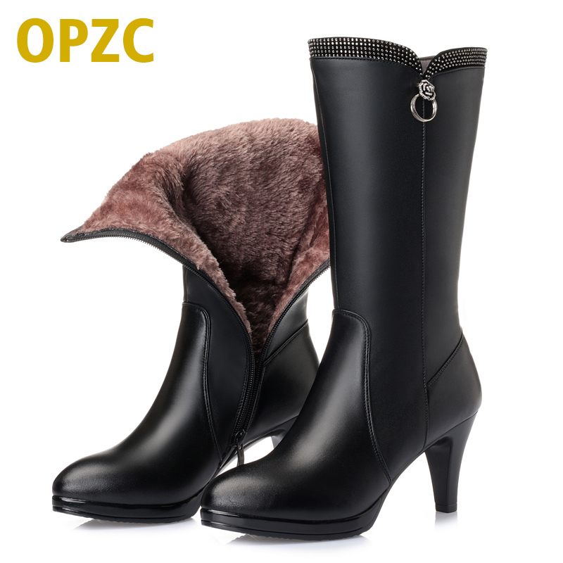 2018 New Women Winter Boots Genuine Leather boots high-heeled women long boots wool lined warm snow boots Lady Fashion shoes 3pc 2000mah np fw50 np fw50 battery for sony alpha a33 a35 a37 a55 slt a33 slt a35 slt a37 slt a37k slt a37m slt a55 slt a55v