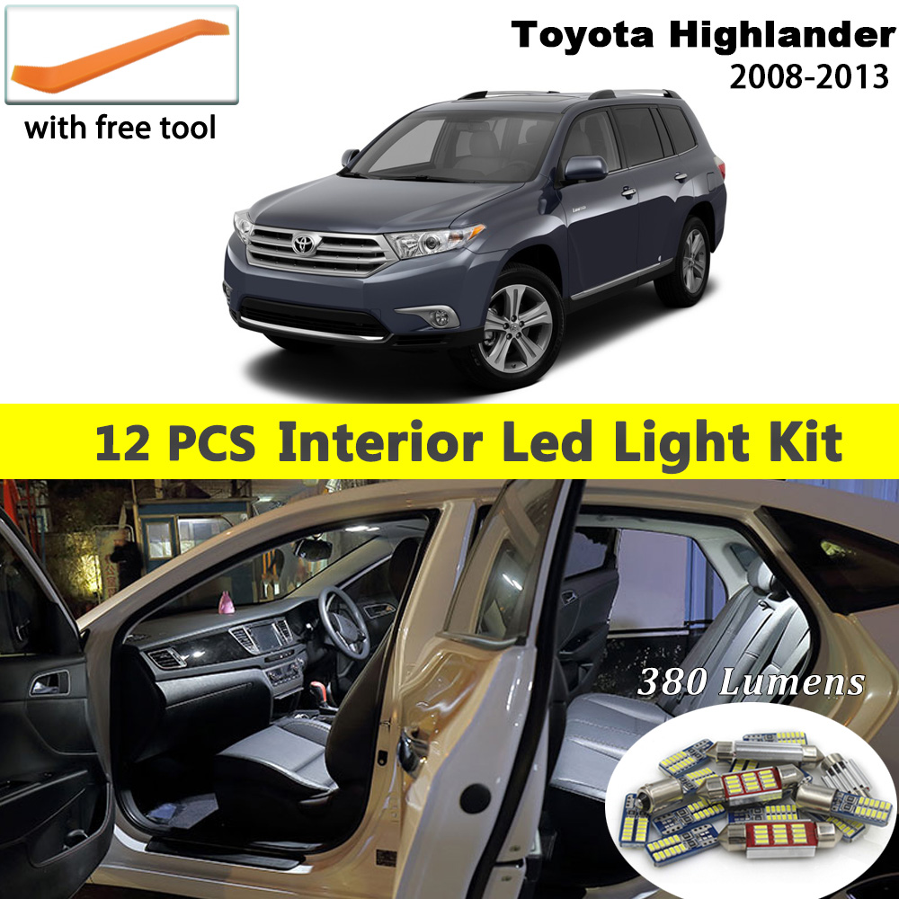 14PCS White Interior LED Light Bulbs Package Kit For 2013-2014 Honda Accord