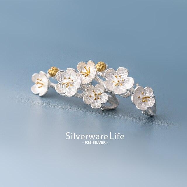 1 cm prata 925 pura Tremella prego flores femininas cereja pequena temperamento doce Brincos do parafuso prisioneiro Coreano Meninas Presente de Aniversário