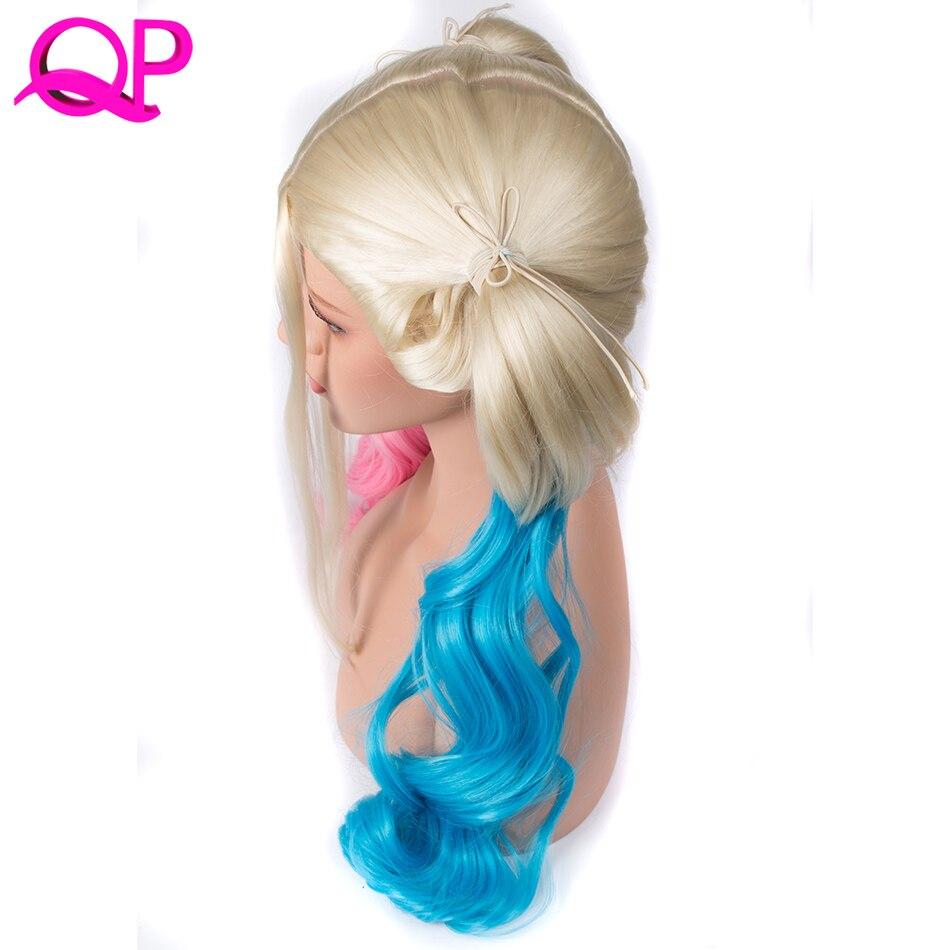 Qp Волосы средней длины Искусственные парики естественная волна для Для женщин розовый голубой парик 20 дюймов Косплэй парик