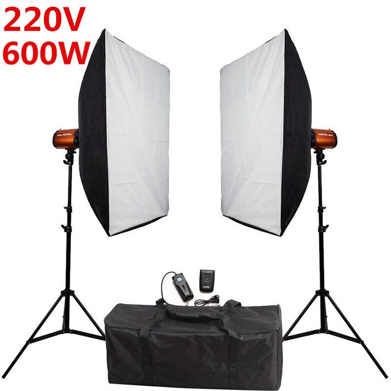 bilder für Fotografie Studio Weichen Box Flash Beleuchtung Kits 600ws 220 V Röhrenblitz-blitz + Softbox * 2 + Lichtstativ * 2 +-Sync Trigger Empfänger Se