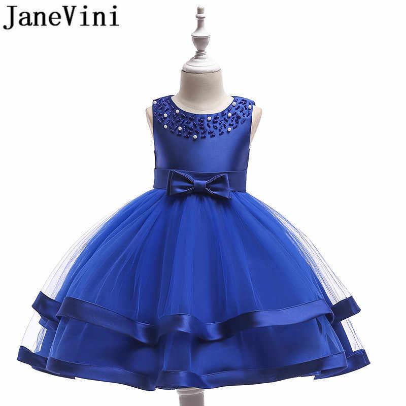 JaneVini Vermelho Vestido Da Menina Flor vestido de Baile Champagne Na Altura Do Joelho Vestidos de Festa de Crianças Vestidos De Menina De Flor Para Casamentos 2019