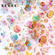 DUGUO Cute Stationery Dimensional Diary Sticker Paper Waterproof Hot Stamping Label Material Sticker Kawaii School Supplies