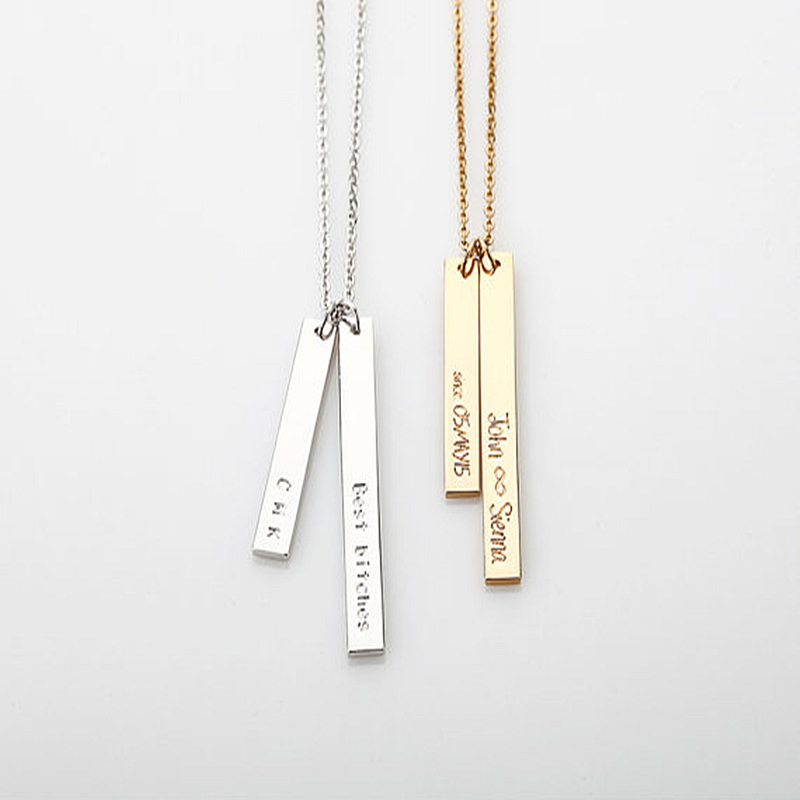 Double Bar Necklace, Personalized Engraved Name Plate Necklace, Gold Custom Coordinates Necklace, Initial Vertical Bar, Gift