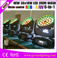 1pcs Lyre Moving Head Light 36 18W RGBWAUV 6IN1 Zoom Led Moving Head Light Beam Angle