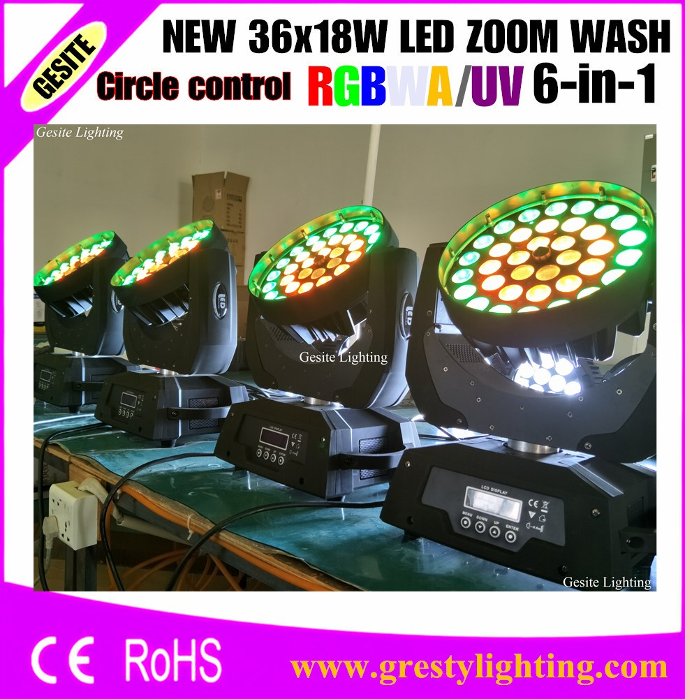 1pcs Lyre moving head light 36*18W RGBWAUV 6IN1 Zoom Led Moving Head Light Beam Angle Adjustable 15 60 degree