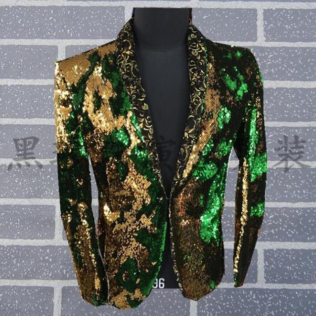 finest selection 023d9 e1628 US $64.6 24% di SCONTO|Uomini vestiti a due colori disegni masculino homme  terno uomini sequin giacca danza costumi di scena per cantanti vestiti ...