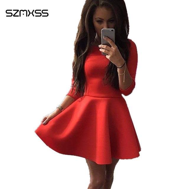 e5e33a843c49 Fashion Women dresses 2019 Spring Summer Half Sleeve A-line Sexy Mini  Evening Party Bodycon Gray Red Skater Dress Vestidos femme