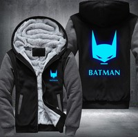 USA size Batman The Dark Knight Men's Women's Printing Pattern Cosplay Luminous Zipper Jacket Sweatshirts Thicken Hoodie Coat