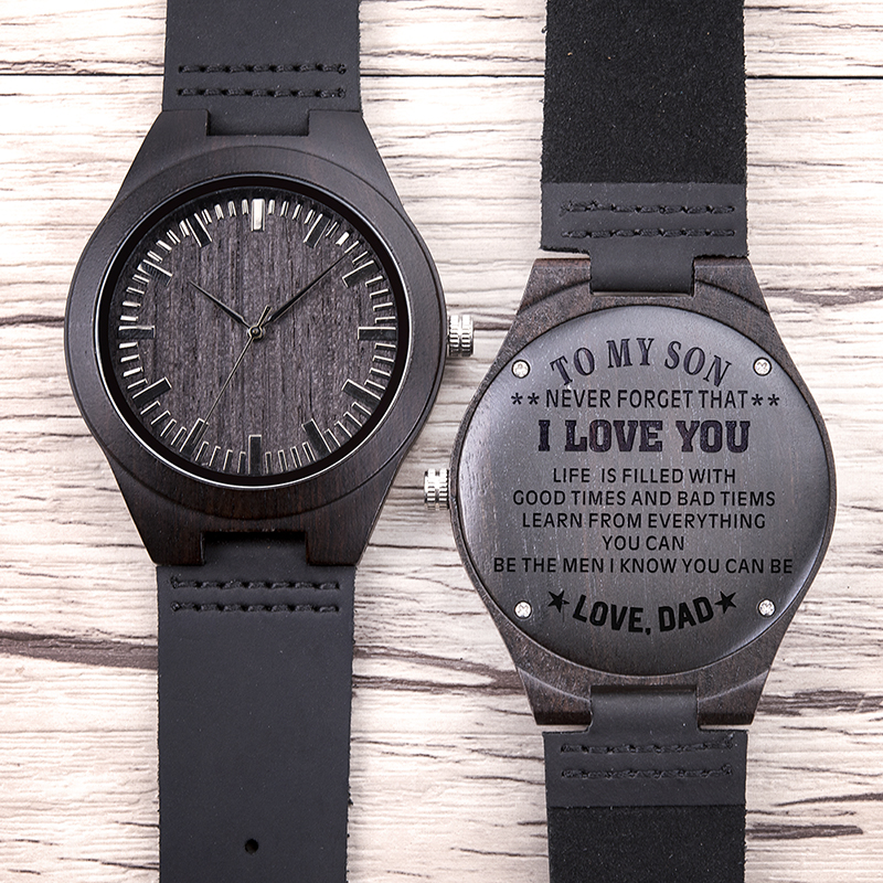 Family Gifts Personalized Special Groomsmen Wood Engraving Watch 12
