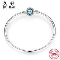 Hot 925 Sterling Silver Charm blue zircon Bead bracelet diy for fashion jewelry womens accessories trendy 2018