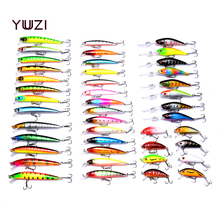 Купить с кэшбэком 43pcs Mixed Fishing Lure Set isca artificial fishing kit Minnow Fishing Wobblers 43 colors Crankbait Hard Fishing Tackle