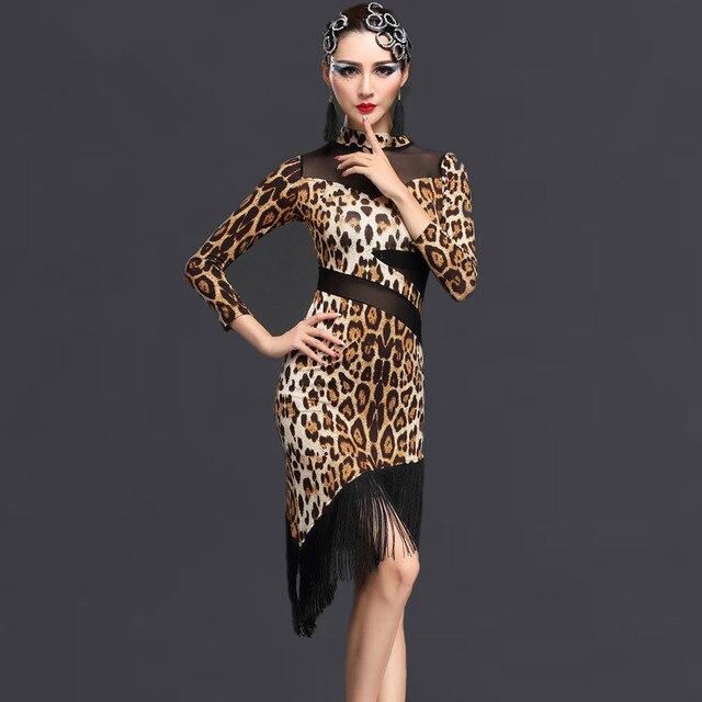 ad5e45959e1f Leopard zebra printed long sleeves Sexy Cheap Latin Dance Dress Women  Professional Latin Skirt Samba Dance