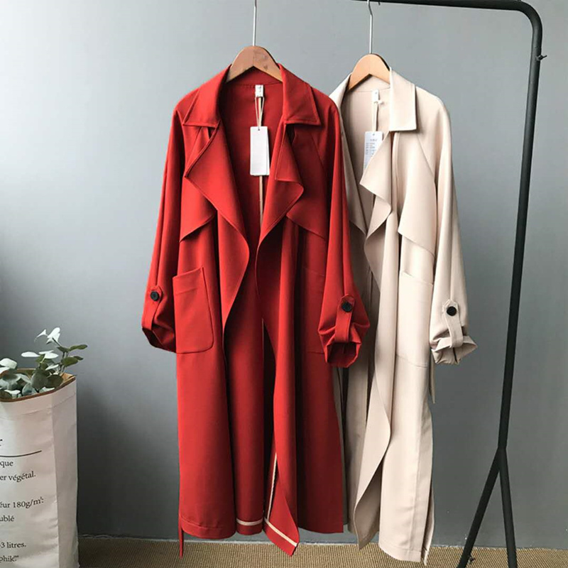 Women Spring Autumn Solid Long Trench Office Lady 2018 New Belt Fashion Adjustable Waist Skirt Style Trenches Female Windbreaker
