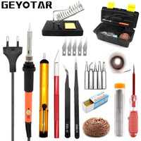 GEYOTAR EU Plug 220V 60W Adjustable Temperature Electrical Soldering Iron Kit With Tool Box Solderwire Knife