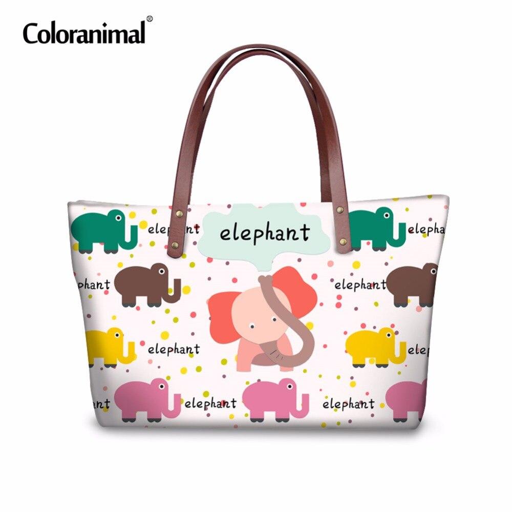 e9adb2f59a2f US $23.99 20% OFF|Coloranimal Brand Fashion Women Handbag Female Big  Capacity Shoulder Daily Bag Cartoon Animal Eleplant Printing Ladies Tote  Bag-in ...