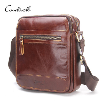CONTACT'S New Fashion Cowhide Man Messenger Bags Small Genuine Leather Male CrossBody Bag Casual Men Shoulder Bag Travel Bolsa