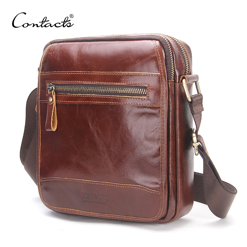 CONTACT'S New Fashion Cowhide Man Messenger Bags Small Genuine Leather Male CrossBody Bag Casual Men Shoulder Bag Travel Bolsa zznick 2018 new men s small shoulder bag genuine cowhide leather messenger bags for men casual small crossbody bag travel bags