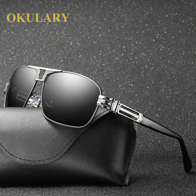 2019 Men Polarized Sunglasses UV400 Men Driving Glasses Silver Brown Frame Come with Box