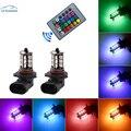 2 Pcs H11 RGB LED Auto Car Farol 5050 27 SMD Fog Light Head Lamp Bulb com Controle Remoto Carro estilo