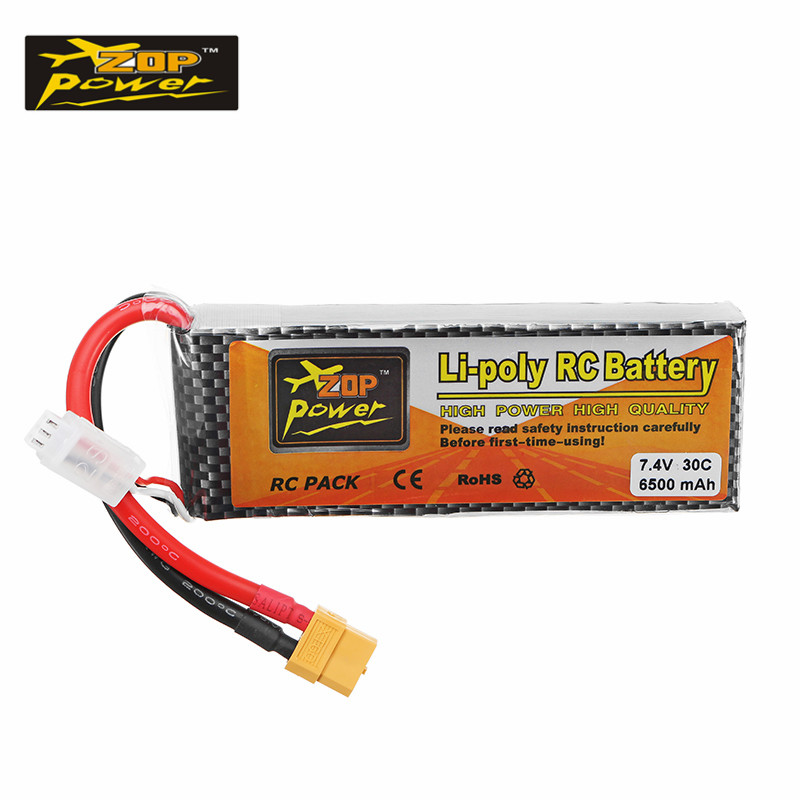 Hot New ZOP Power 7.4V 6500mAh 30C 2S XT60 Plug Rechargeable Lipo Battery For RC Quadcopter Airplane Helicopter Model Spare Part mos rc airplane lipo battery 3s 11 1v 5200mah 40c for quadrotor rc boat rc car