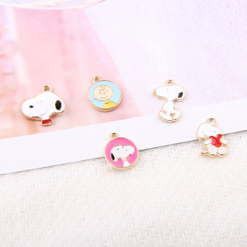 10pcs Enamel Cartoon Dog Charms Gold Color Alloy Bracelet Pendant Boy Floating  DIY Earring Jewelry Accessories YZ036