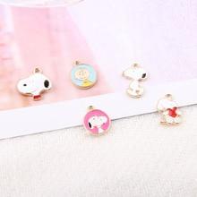 10pcs Enamel Cartoon Dog Charms Gold Color Alloy Bracelet Pendant Boy Floating  DIY Earring Jewelry Accessories YZ036