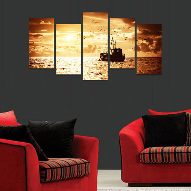 HD Print Home Decor Modular Pictures Frame 5 Panel Yellow Glowing Ocean Ship Seabirds Living Room Wall Art Paint Modern Canvas
