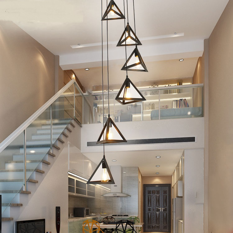 Beautiful Stairs lights modern pendant lights for hotel hall decorations building long villa staircase lighting 6 7 8 9 heads lamps ZA in Pendant Lights from Lights Top Search - Popular decorative pendant lighting Elegant