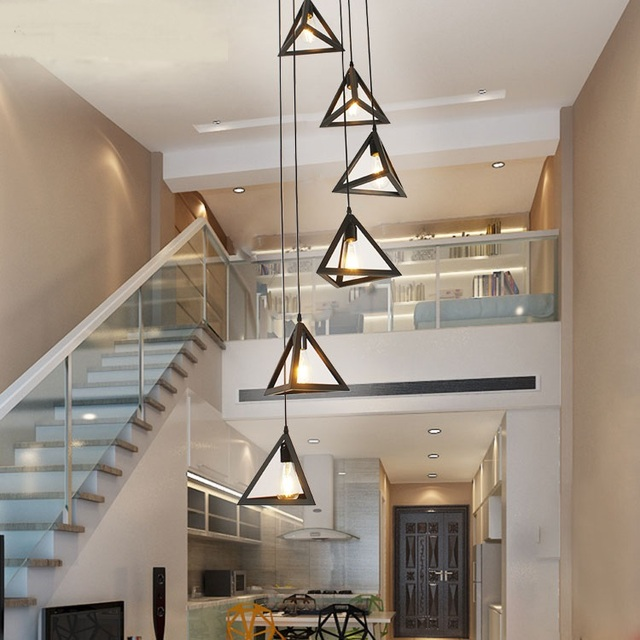 Stairs Lights Modern Pendant Lights For Hotel Hall Decorations Building  Long Villa Staircase Lighting 6/