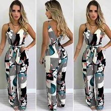 Women Summer Boho Floral Jumpsuit Sexy V-neck Playsuit Party Wide Leg Loose Long Trousers Pants Holiday Romper women summer beach holiday floral print jumpsuit strappy spaghetti strap deep v neck loose playsuit long pants split jumpsuit