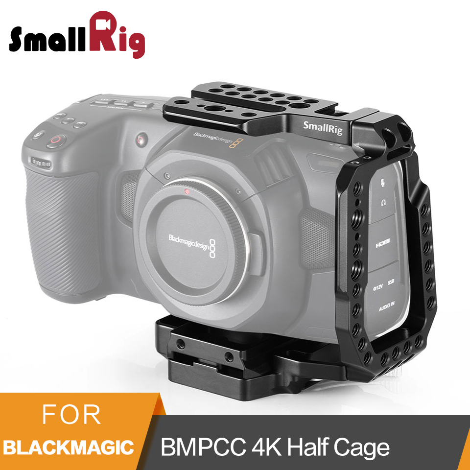 SmallRig QR Half Cage for Blackmagic Design Pocket Cinema Camera 4K Cage With Built-in Manfrotto 501PL Plate NATO Rails- 2255SmallRig QR Half Cage for Blackmagic Design Pocket Cinema Camera 4K Cage With Built-in Manfrotto 501PL Plate NATO Rails- 2255