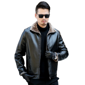2018 Men Leather Jacket Fashion Brand Quality Fleece Lined Motorcycle Bomber Faux Leather Coats Male Outerwear Winter Jacket