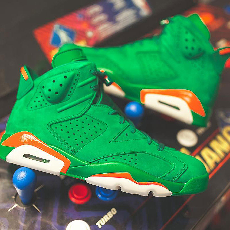 846ca4a1040a3 Nike Air Jordan 6 Gatorade AJ6 Green Suede Men's Basketball Shoes Outdoor  Sneakers Wear Resistant Cozy Footwear 2018 New AJ5986-in Basketball Shoes  from ...