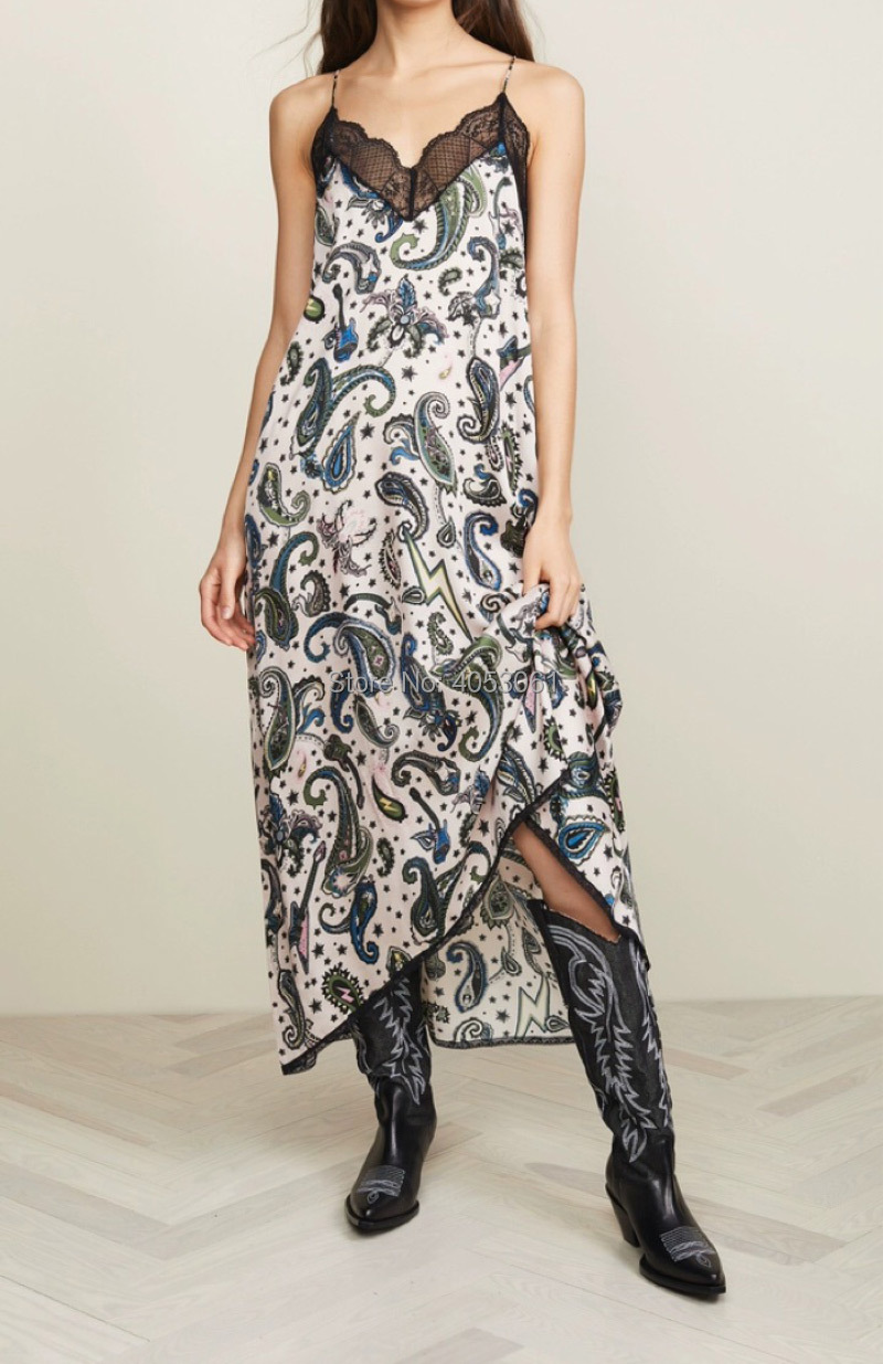 Viscose 100% 페이즐리 캐슈 인쇄 레이스 패치 워크 스파게티 스트랩 롱 드레스 2019 새로운 여성 얇은 어깨 스트랩 드레스-에서드레스부터 여성 의류 의  그룹 1