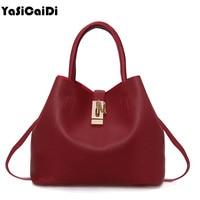 Yasicaidi أزياء المرأة جلدية حقائب يد رسول السيدات بو الجلود عالية الجودة المحمول قطري عبر الرغيف حقيبة الأم