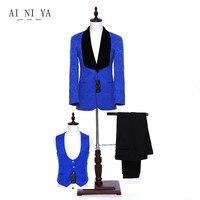 Jacket+Pants+Vest Royal Blue Floral Womens Business Suits Slim Office Uniform Style Ladies Formal Work 3 Piece Suits Custom Made