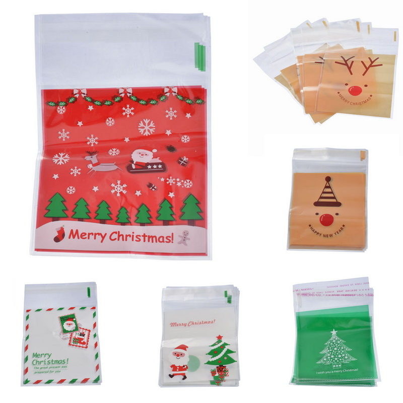 Hot Sale 50PC Christmas Self Sealing Bags Plastic Candy Cookies Pouch Gift Bags Self Adhesive Resealable New Year Gift Bag Pouch tote bag