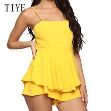 TIYE Yellow Black Summer Backless Sleeveless Bodycon Feminino Short Jumpsuit Women Elegant Party Plub Playsuit Combinaison Femme