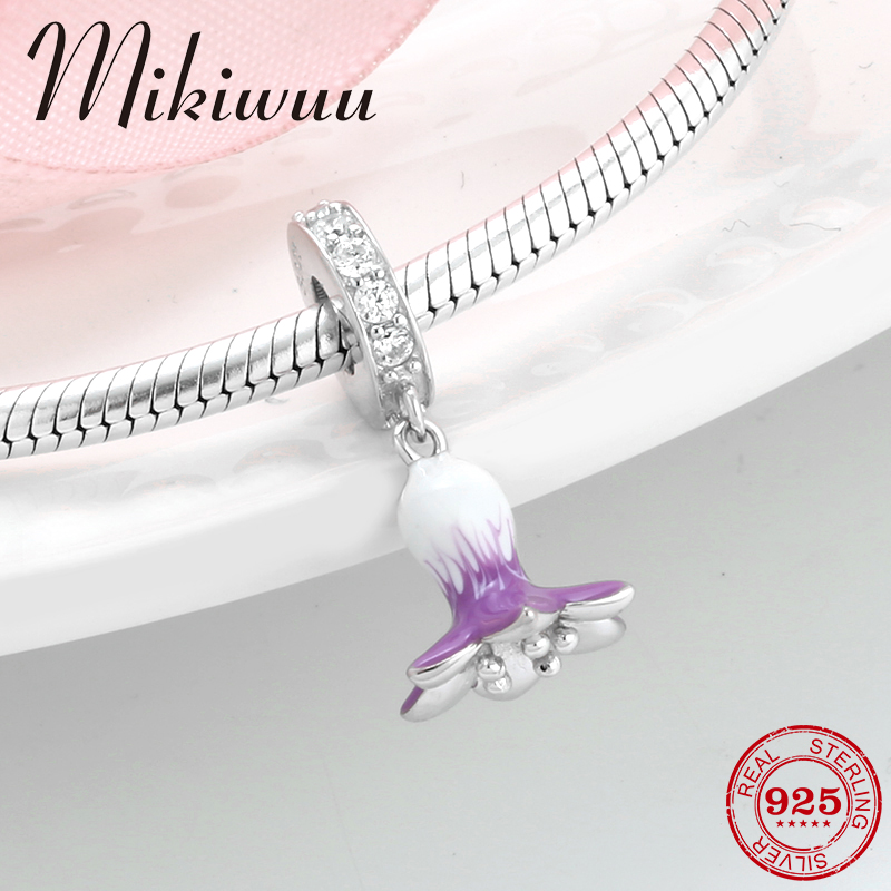 925 Sterling Silver Zircon White Purple Enamel Morning Glory Fine Pendant Making Fit Original Pandora Charm Bracelet