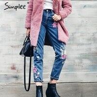 Simplee Flower Embroidery Jeans Female High Waist Birds Zipper Straight Denim Pants Jeans Women 2017 Pocket